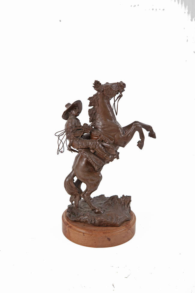 Western Cowboy Aims Rifle Signed Bronze Sculpture Statue Figurine on Marble Base