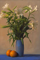 Conor Walton (b.1970)			 Still Life with Lilies and Oranges Oil on canvas, Fine Irish Art at Adams Auctioneers