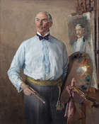 Margaret Clarke RHA (1888-1961) Portrait of the Artist Dermod O'Brien PRHA in his Studio Oil on c..., Fine Irish Art at Adams Auctioneers