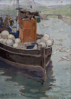 Georgina Moutray Kyle RUA (1865-1950) Fishing Boat and Seagulls Oil on canvas board, Fine Irish Art at Adams Auctioneers