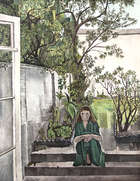 "Patrick Swift (1927-1983) Girl in a Garden (c.1951/2) Oil on canvas, 134.5 x 106.5cm (53 X 42"")..., Fine Irish Art at Adams Auctioneers"