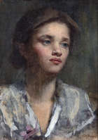Sarah Purser HRHA (1848-1943) Portrait of a Young Girl with Flower Oil on canvas, 35 x 25cm (13¾..., Fine Irish Art at Adams Auctioneers