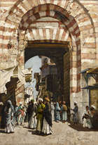 Aloysius O'Kelly (1853-1936) The Gate of Bab Zuwayla Oil on canvas Signed and inscribed 'Cairo'  ..., Fine Irish Art at Adams Auctioneers