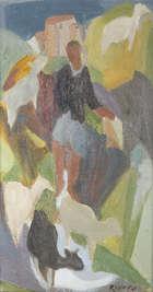 Elizabeth Rivers RHA (1903-1964) The Goat Herder Oil on board, 30 x 16cm (11¾ x 6¼''), Fine Irish Art at Adams Auctioneers