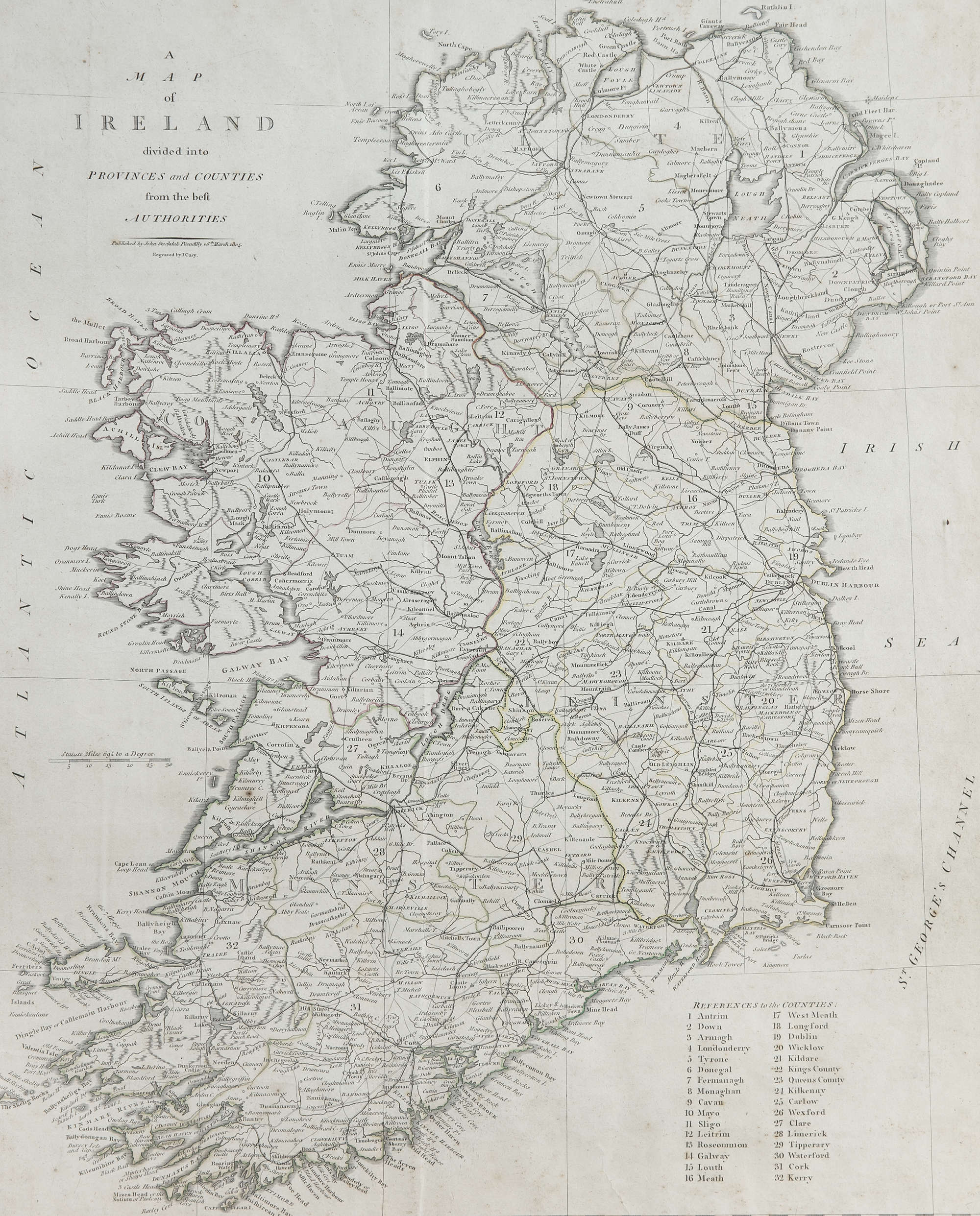 Map Of Ireland 26 Counties.Lot 0 Camden Carey 19th Century A Map Of Ireland Divided Into