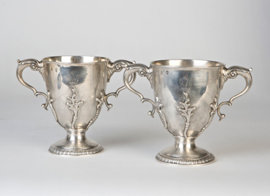 A pair of Irish George III rococo loving cups - Sold for 2,700