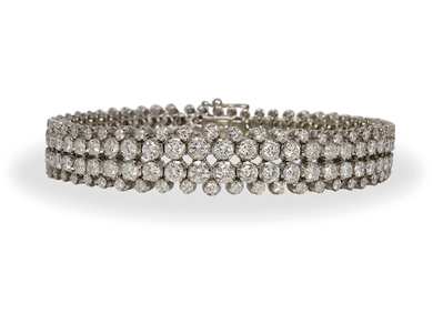 A bracelet of round brilliant cut diamonds,11.50ct total - Sold for €6,000