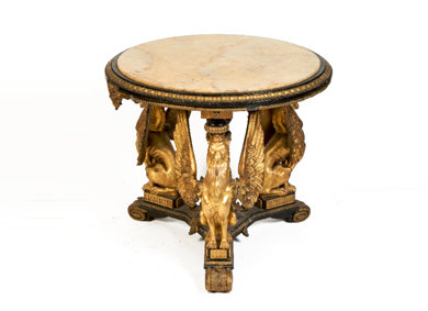 A Victorian giltwood and gesso ebonised centre table, with alabaster top -Sold for €5,600