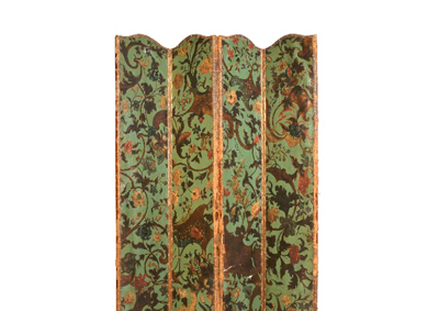 A four-leaf leather screen painted with flowers - Sold for 1,800
