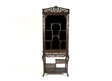 An oriental cherrywood display cabinet, c.1900 - Sold for €4,000