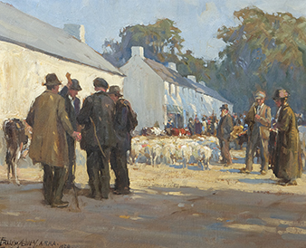 Frank McKelvey RHA RUA (1895-1974) ''Camlough Fair, the Clinching Bid''  Sold for €30,000