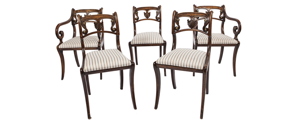 A SET OF TEN GRAINED ROSEWOOD DINING CHAIRS - Sold for €2,400