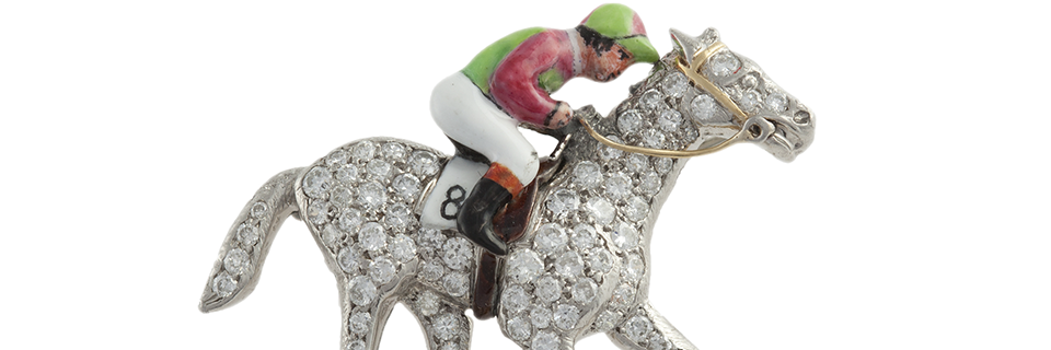 A diamond brooch of horse and jockey - Sold for  €4,600