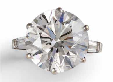 A diamond single - stone ring, diamond 8.53 carat total. Sold – €85.000