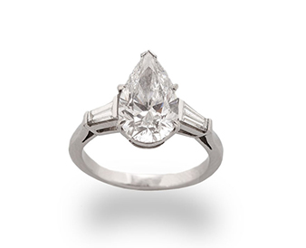 A diamond single-stone ring, central diamond approx. 2.52 carat total - Sold for €15,000