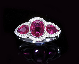 A ruby and diamond ring, - Sold for €40,000