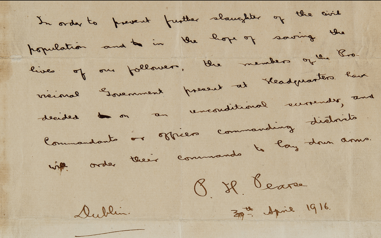 Padraig Pearse's Surrender Letter, 30th April 1916