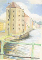 Margaret Stokes (1915-1996) Warehouses - Clonmel Gouache, 34 x 25.5cm (13.5 x 10'') Signed, Fine Irish Art at Adams Auctioneers