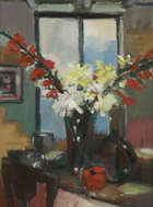 John O'Connell (b.1935) Still Life with Gladioli Oil on board, 60 x 43cm  Signed  Provenance: Eak..., Fine Irish Art at Adams Auctioneers