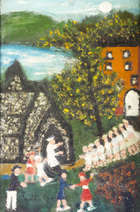 Gretta Bowen (1880 - 1981) Procession Oil on board, 35 x 29cm (14 x 11.5'') Signed, Fine Irish Art at Adams Auctioneers