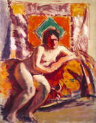 Roderic O'Conor (1860 - 1940) Seated Nude against orange Oil on canvas, 91.5 x 74cm (36 x 29'')  ..., Fine Irish Art at Adams Auctioneers