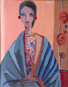 Colin Middleton , RHA, (1910 - 1983) Girl with Stripes Oil on canvas,75 x 60cm (29.5 x 23.5'') Si..., Fine Irish Art at Adams Auctioneers