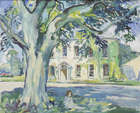 Eva Henrietta Hamilton, (1876-1960) Child Sitting in the Shade in Front of Country House Oil on c..., Fine Irish Art at Adams Auctioneers
