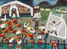 Gretta Bowen, (1880-1981) Football Match Oil on board, 40 x 54cm, (15.75 x 21.25'') Signed Exhibi..., Fine Irish Art at Adams Auctioneers