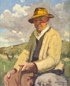 Sean O'Sullivan, RHA, (1906-1964) A Co. Galway Farmer Seated in Landscape Oil on board, 61 x 51cm..., Fine Irish Art at Adams Auctioneers