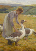 Maria Dorothy Webb (Exh. 1881-1910) The Goose Girl Oil on canvas, 73.5 x 54.5cm, (29 x 21.5'') Si..., Fine Irish Art at Adams Auctioneers