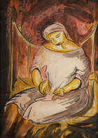 Anne Yeats (1919-2001) The Knitter Watercolour, 53 x 39cm (22.5 x 16.75'') Exhibited: 'Anne Yeats..., Fine Irish Art at Adams Auctioneers