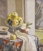 Moyra Barry (1885-1960) Still Life with Apples and Grapes in Glass Comport by Window Oil on canva..., Fine Irish Art at Adams Auctioneers