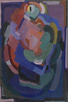 Evie Hone H.R.H.A. (1894-1955) Mother & Child, design for Eton College stained glass  Gouache on ..., Fine Irish Art at Adams Auctioneers