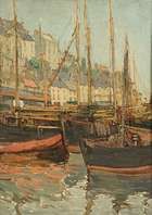 Georgina Moutray Kyle RUA (1865-1950) Boats in Harbour  Oil on canvas board, 45 x 32cm, (17.7 x 1..., Fine Irish Art at Adams Auctioneers