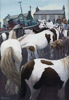 Cecil Maguire RHA RUA (b.1930) Horse Fair, Ballinasloe Oil on board, 86 x 61cm (34 x 24'') Signed..., Fine Irish Art at Adams Auctioneers
