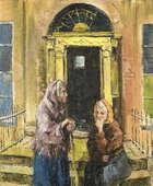 Robert Taylor Carson HRUA (1919-2008) Gossip in Mountjoy Square  Oil on canvas, 61 x 50.5 (24 x 1..., Fine Irish Art at Adams Auctioneers