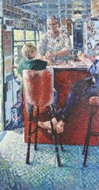 Hector McDonnell RUA (b.1947) Carol's Hot Dogs Oil on canvas, 193 x 101cm, (76 x 39.75'') Signed ..., Fine Irish Art at Adams Auctioneers
