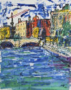 Phil Kelly (1950-2010) Liffey and O'Connell Bridge Oil on paper,  Signed and dated '97  Provenanc..., Fine Irish Art at Adams Auctioneers