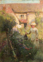 Walter Frederick Osborne RHA (1859 - 1903) Her Garden (1891) Oil on panel, 35.5 x 25.5 cm (14 x 1..., Fine Irish Art at Adams Auctioneers