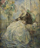 MARY SWANZY HRHA (1882-1978) Mending a Sheet Oil on canvas, 61 x 51cms (24 x 20'') Signed. Artist..., Fine Irish Art at Adams Auctioneers