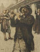 WILLIAM CONOR RHA RUA ROI (1881-1968) The Tin Whistle Wax crayon, 46 x 35cms (18 x 13.75'') Signe..., Fine Irish Art at Adams Auctioneers