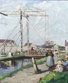 Eva Henrietta Hamilton (1876-1960) The Lifting Bridge, Monasterevin  Oil on canvas, 77 x 63.5cm (..., Fine Irish Art at Adams Auctioneers