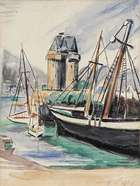 May Guinness RHA (1863-1955) Boats in Harbour Watercolour, 29 x 22cm (11½ x 8¾'') Signed , Fine Irish Art at Adams Auctioneers