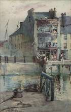 Harry Scully RHA (c.1863-1935) Buildings on a Quayside  Watercolour, 26 x 16.5cm (10¼ x 6½'') S..., Fine Irish Art at Adams Auctioneers