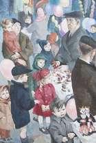 Muriel Brandt RHA (1909 - 1981) Christmas Eve (Figures on Moore Street) Oil on board, 43 x 29cm (..., Fine Irish Art at Adams Auctioneers