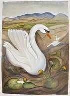 Pauline Bewick (b.1935) The Irish Swan Acrylic on paper on board, 139 x 100cm Signed, inscribed '..., Fine Irish Art at Adams Auctioneers