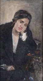 Attributed to Sarah Purser HRHA (1848-1943) Study of a Young Woman in an Interior Oil on canvas, ..., Fine Irish Art at Adams Auctioneers