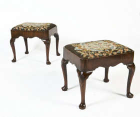 Antique Furniture Pair Antique Country House Needlepoint Tapestry Footstools A Plastic Case Is Compartmentalized For Safe Storage Benches/stools