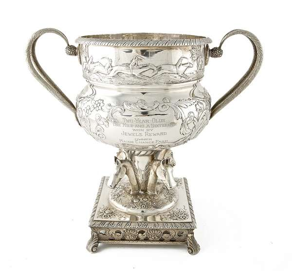 THE PIMLICO CUP, AN AMERICAN SILVER TWIN HANDLED
