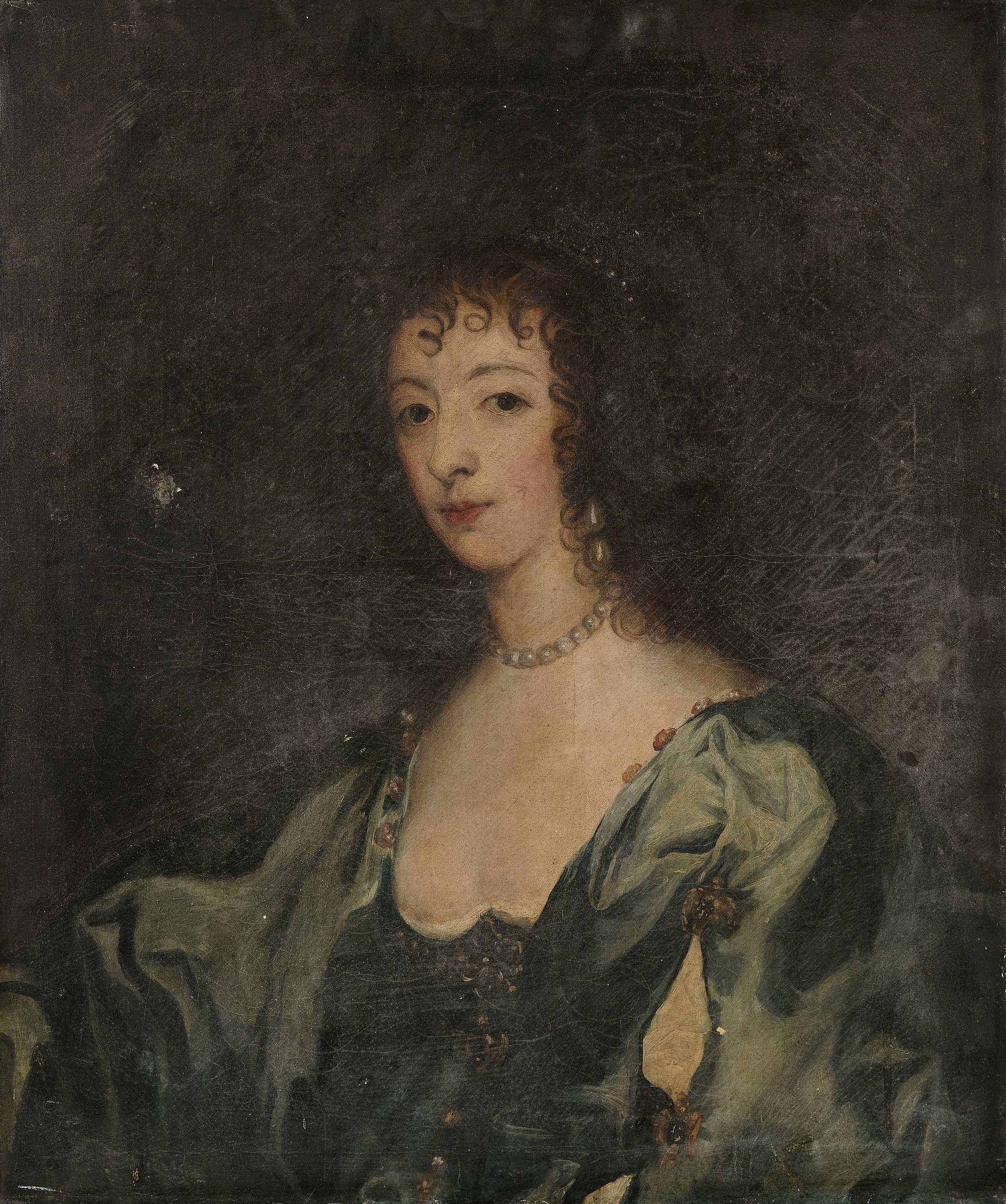 LOT:59   ENGLISH SCHOOL (LATE 17TH CENTURY) Portrait of a Woman,  half-length, in blue dress 75 x 61cm Provenance: Rathescar House, Co. Louth